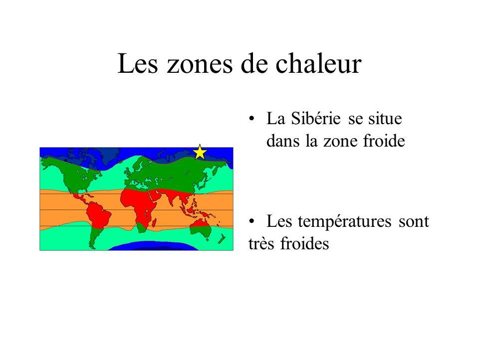 Aide à la localisation de la Sibérie Répondez dans la leçon au crayon à papier Dans quelle zone de chaleur se situe la Sibérie ? Complète la phrase su