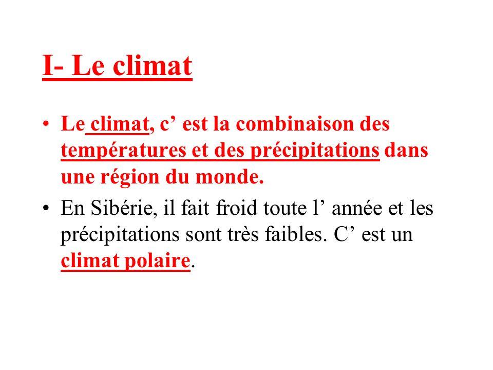I- Le climat Le climat, c est la combinaison des températures et des précipitations dans une région du monde.