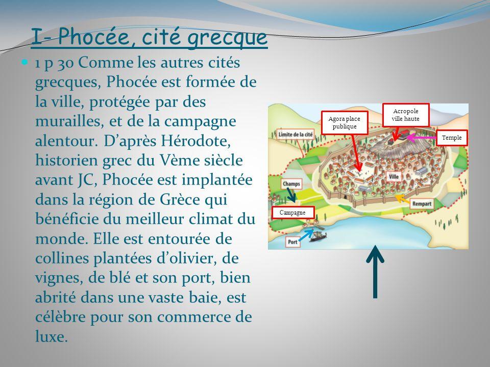 I- Phocée, cité grecque 1 p 30 Comme les autres cités grecques, Phocée est formée de la ville, protégée par des murailles, et de la campagne alentour.