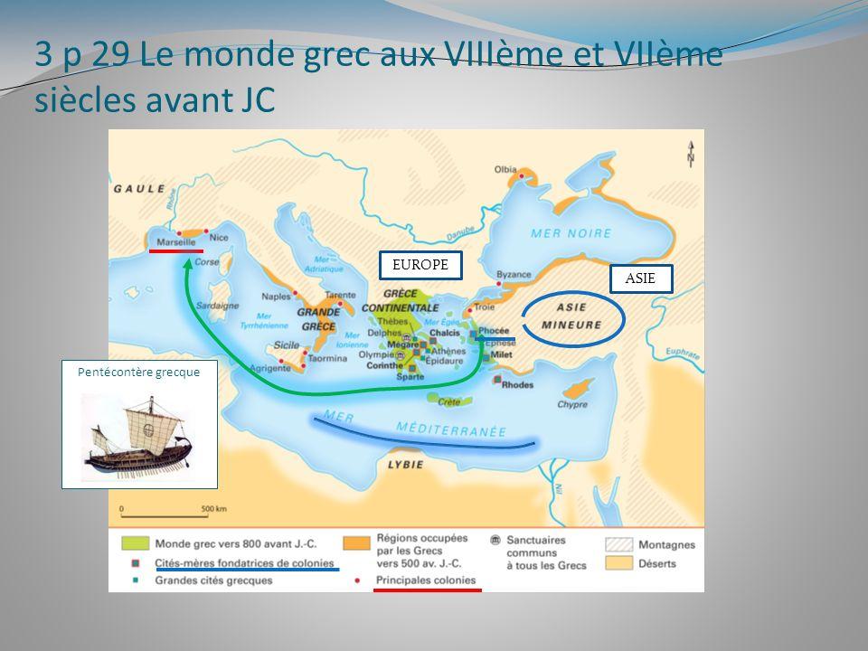 3 p 29 Le monde grec aux VIIIème et VIIème siècles avant JC Pentécontère grecque EUROPE ASIE