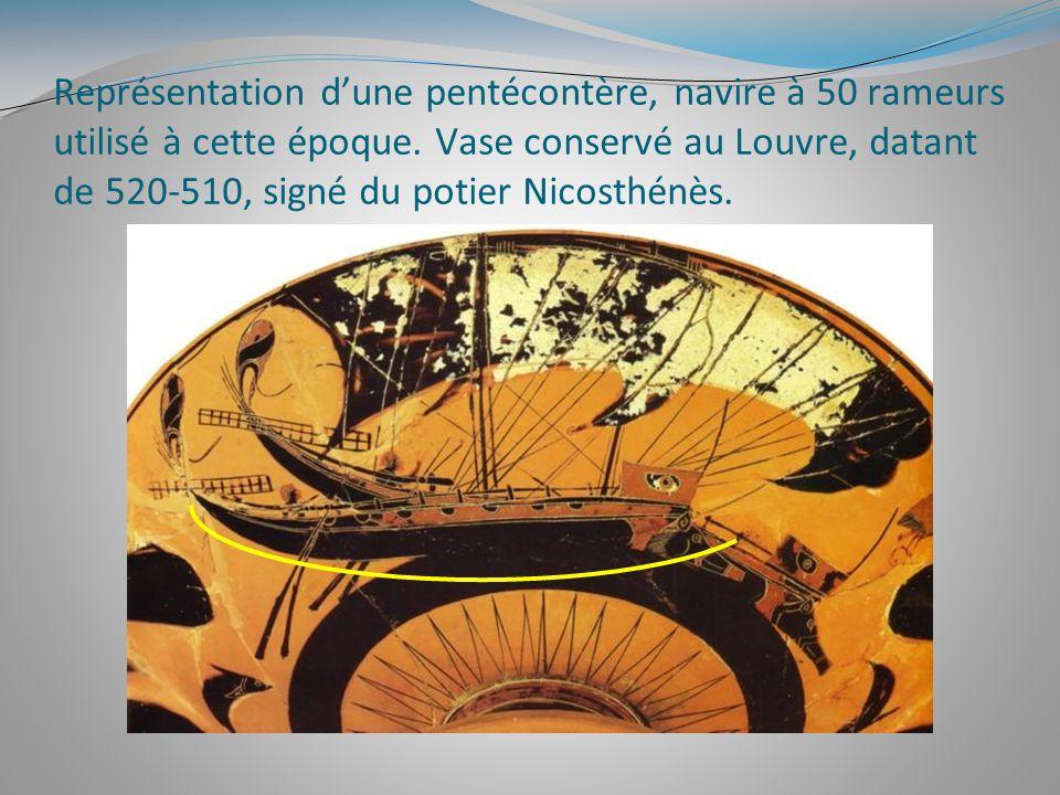 Représentation dune pentécontère, navire à 50 rameurs utilisé à cette époque. Vase conservé au Louvre, datant de 520-510, signé du potier Nicosthénès.