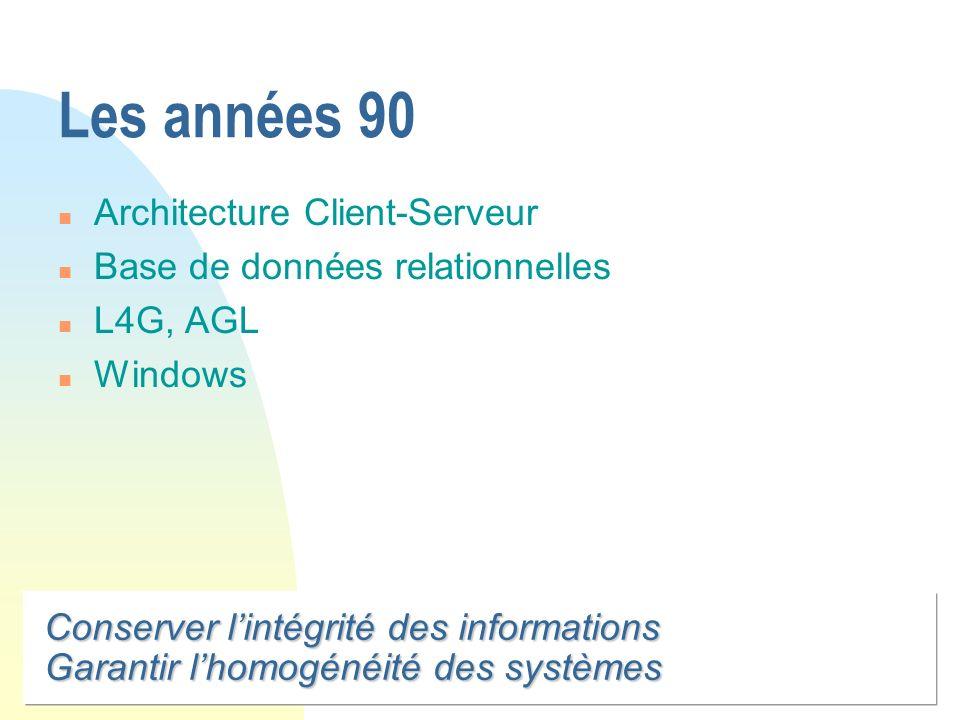 Conserver lintégrité des informations Garantir lhomogénéité des systèmes Les années 90 n Architecture Client-Serveur n Base de données relationnelles