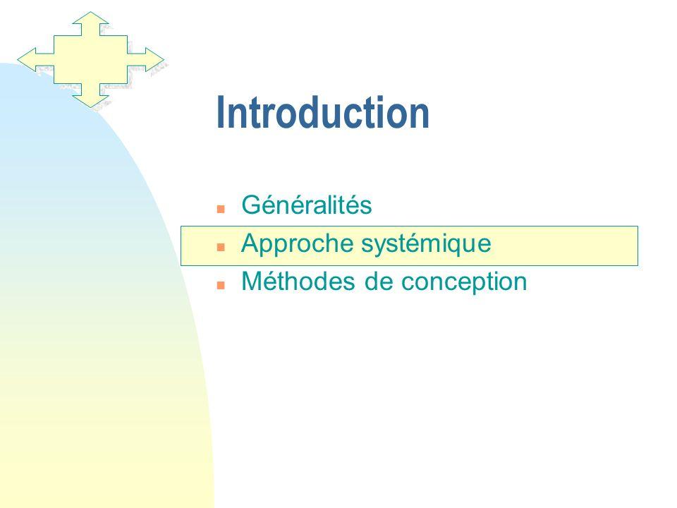 Introduction n Généralités n Approche systémique n Méthodes de conception
