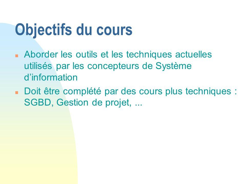 Objectifs du cours n Aborder les outils et les techniques actuelles utilisés par les concepteurs de Système dinformation n Doit être complété par des