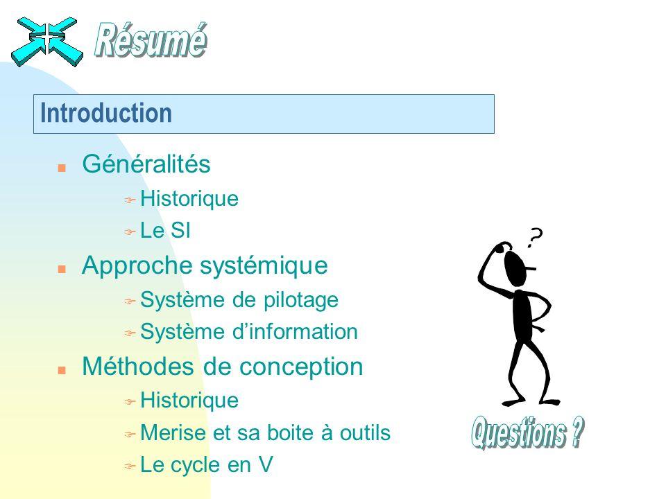 Introduction n Généralités F Historique F Le SI n Approche systémique F Système de pilotage F Système dinformation n Méthodes de conception F Historiq