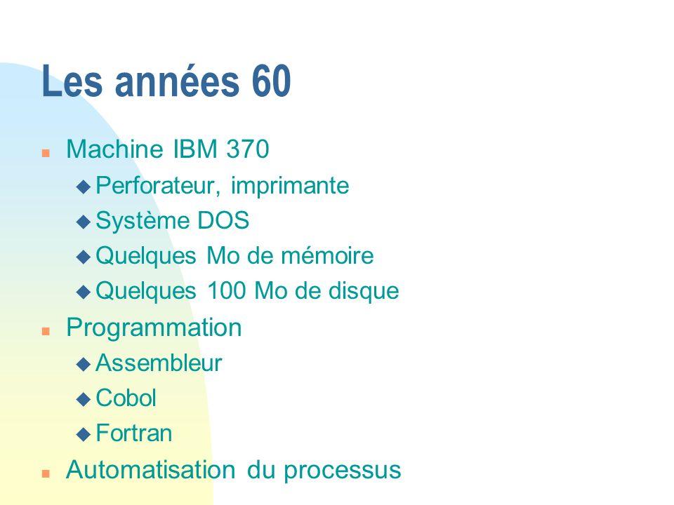 Les années 60 n Machine IBM 370 u Perforateur, imprimante u Système DOS u Quelques Mo de mémoire u Quelques 100 Mo de disque n Programmation u Assembl
