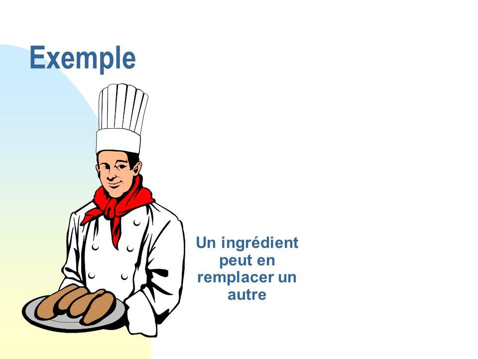 Un ingrédient peut en remplacer un autre Exemple