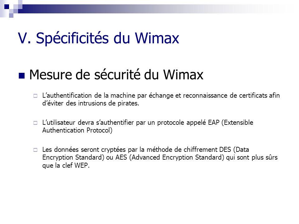 V. Spécificités du Wimax Mesure de sécurité du Wimax Lauthentification de la machine par échange et reconnaissance de certificats afin déviter des int
