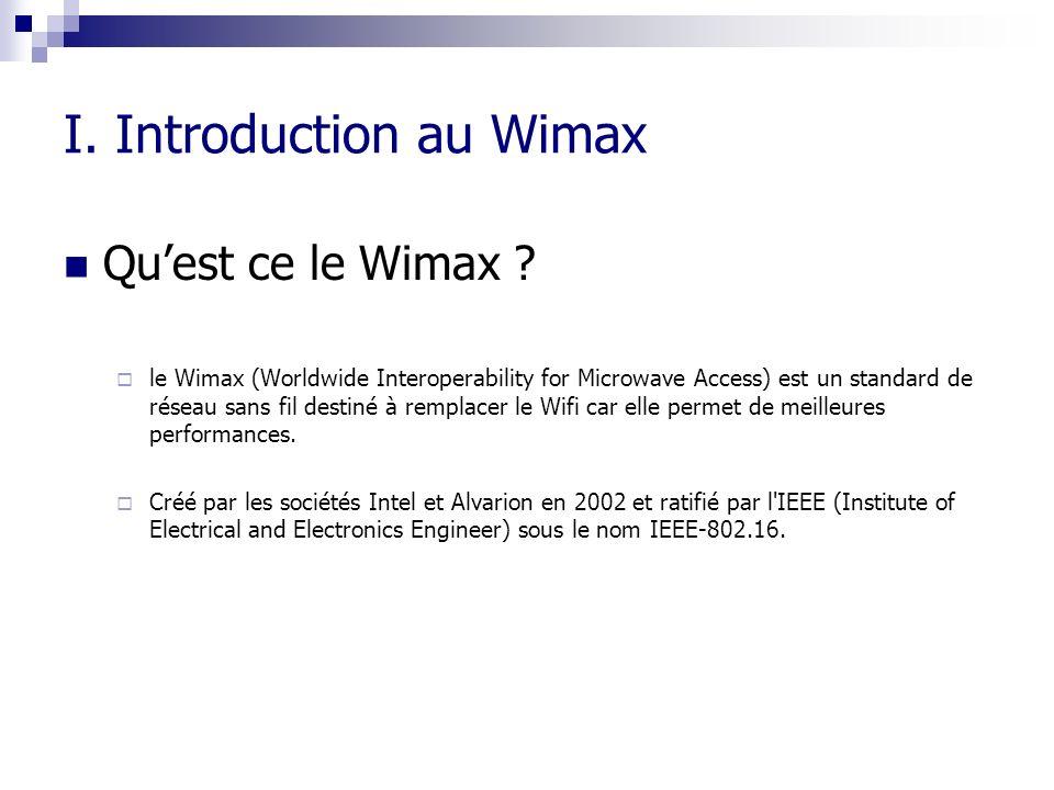 I. Introduction au Wimax Quest ce le Wimax ? le Wimax (Worldwide Interoperability for Microwave Access) est un standard de réseau sans fil destiné à r