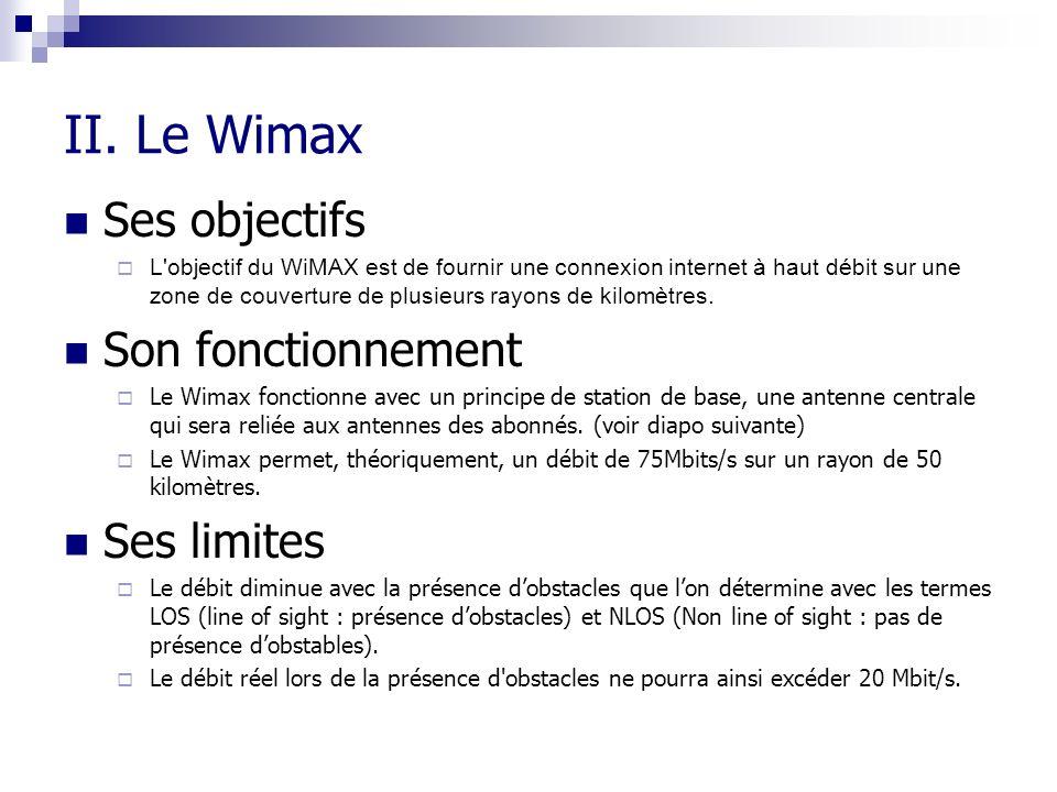 II. Le Wimax Ses objectifs L'objectif du WiMAX est de fournir une connexion internet à haut débit sur une zone de couverture de plusieurs rayons de ki