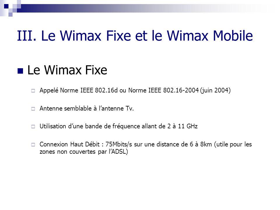 III. Le Wimax Fixe et le Wimax Mobile Le Wimax Fixe Appelé Norme IEEE 802.16d ou Norme IEEE 802.16-2004 (juin 2004) Antenne semblable à lantenne Tv. U