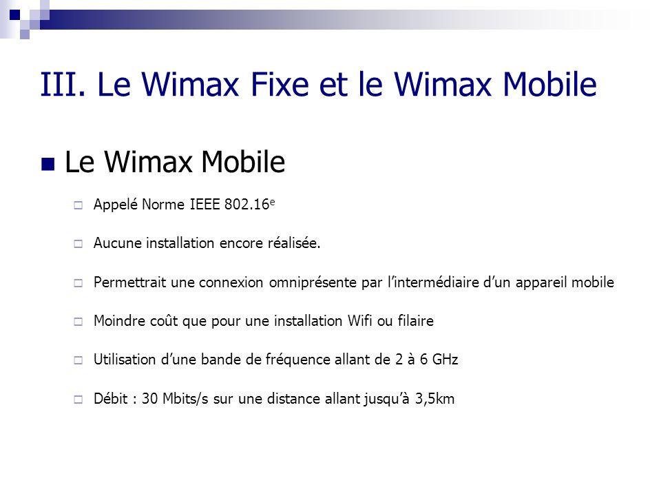 III. Le Wimax Fixe et le Wimax Mobile Le Wimax Mobile Appelé Norme IEEE 802.16 e Aucune installation encore réalisée. Permettrait une connexion omnipr