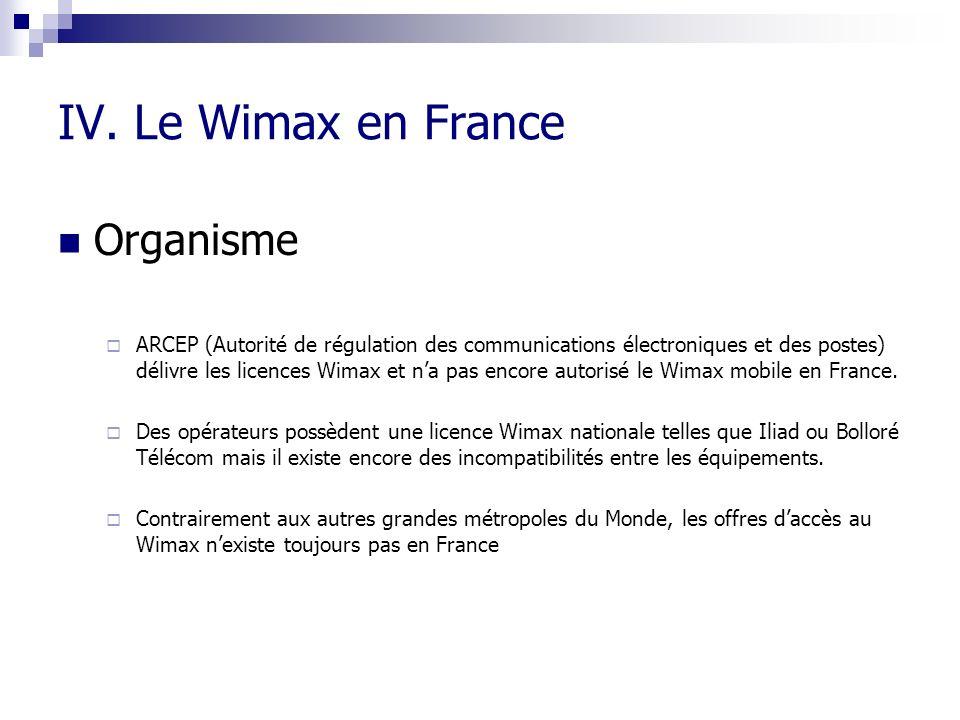 IV. Le Wimax en France Organisme ARCEP (Autorité de régulation des communications électroniques et des postes) délivre les licences Wimax et na pas en