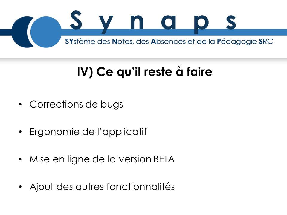 IV) Ce quil reste à faire Corrections de bugs Ergonomie de lapplicatif Mise en ligne de la version BETA Ajout des autres fonctionnalités