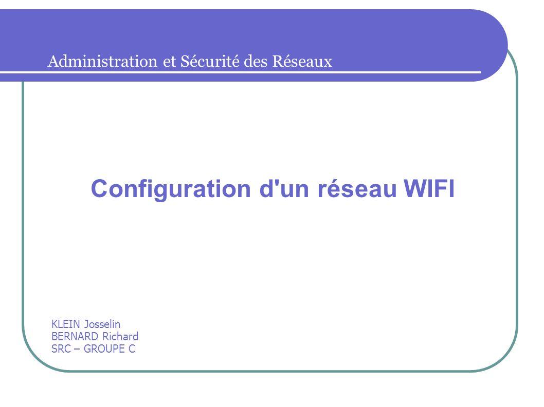 KLEIN Josselin BERNARD Richard SRC – GROUPE C Configuration d'un réseau WIFI Administration et Sécurité des Réseaux