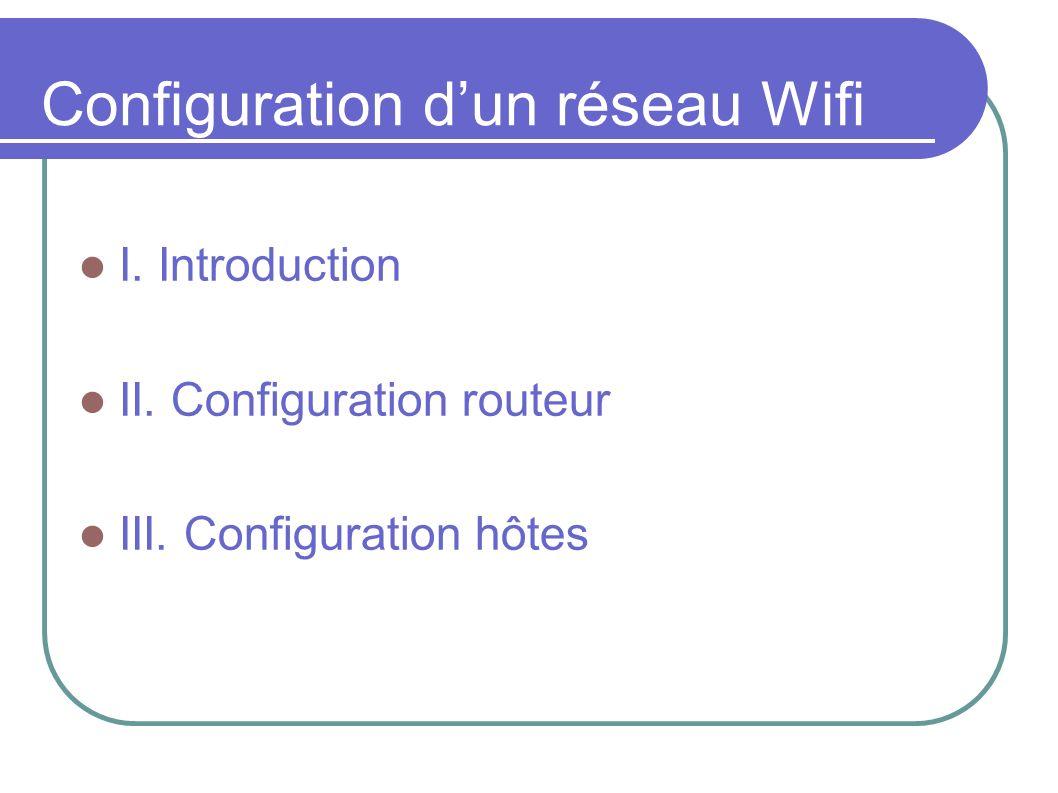 Introduction Objectif: revoir les caractéristiques de la norme IEEE 802.11 (Wifi) et configurer un point d accès Wifi et des stations.