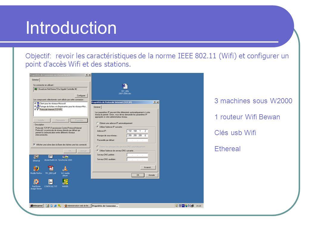 Introduction Objectif: revoir les caractéristiques de la norme IEEE 802.11 (Wifi) et configurer un point d'accès Wifi et des stations. 3 machines sous