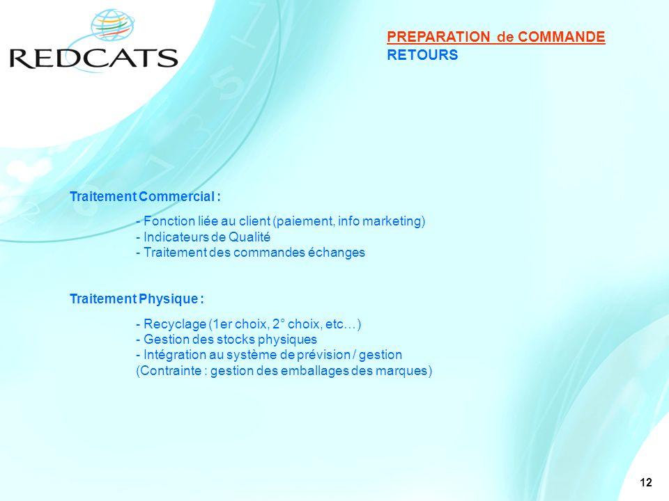 12 RETOURS PREPARATION de COMMANDE Traitement Commercial : - Fonction liée au client (paiement, info marketing) - Indicateurs de Qualité - Traitement