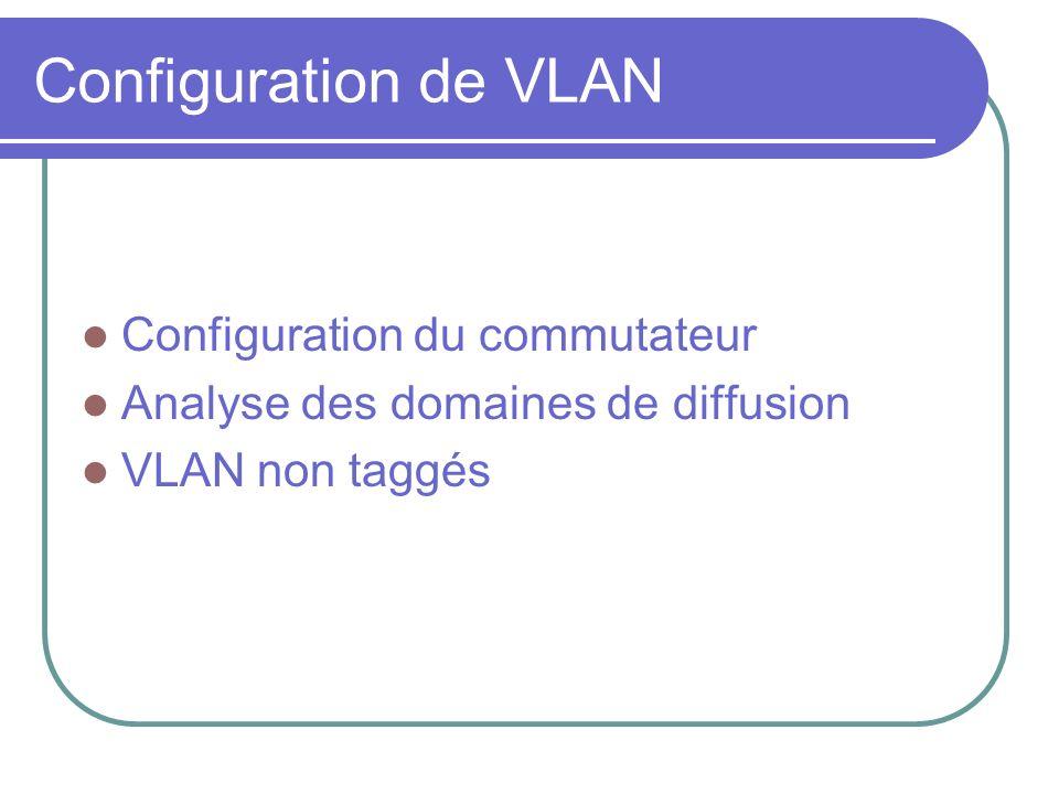 Configuration de VLAN Configuration du commutateur Analyse des domaines de diffusion VLAN non taggés