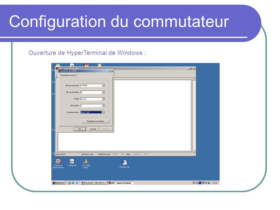 Configuration du commutateur Ouverture de HyperTerminal de Windows :