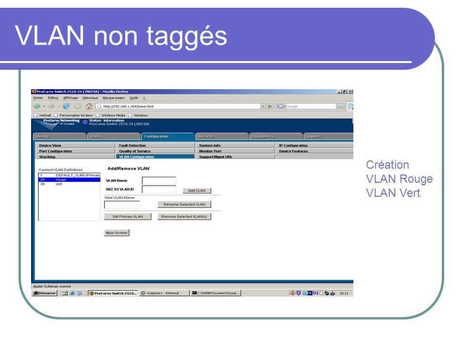 VLAN non taggés Création VLAN Rouge VLAN Vert