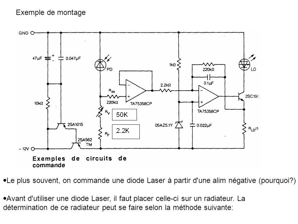 Exemple de montage Le plus souvent, on commande une diode Laser à partir d'une alim négative (pourquoi?) Avant d'utiliser une diode Laser, il faut pla