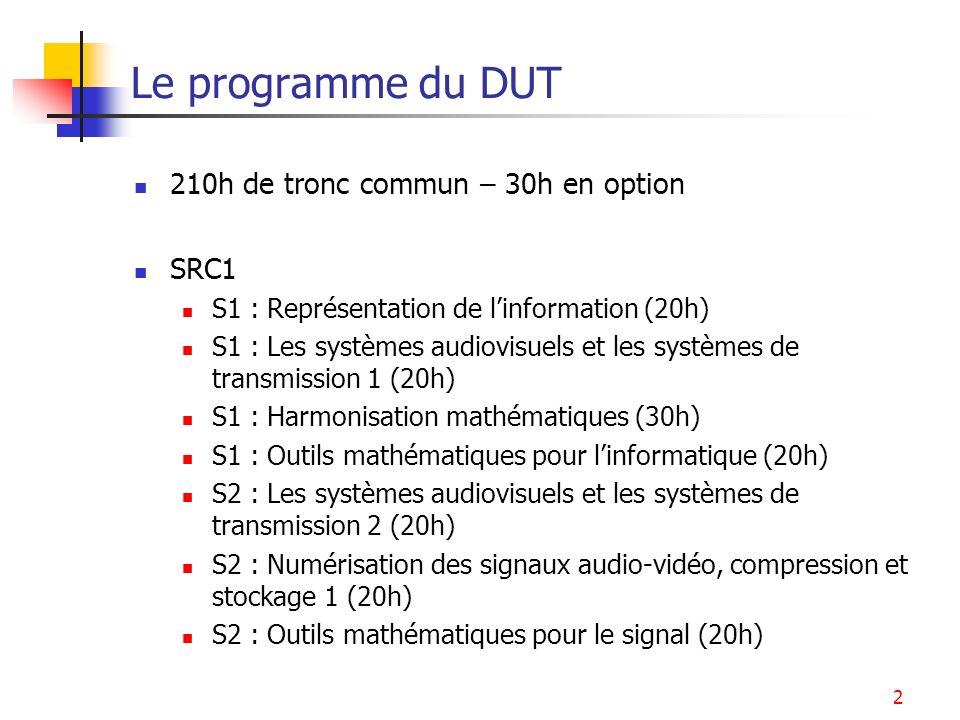 2 Le programme du DUT 210h de tronc commun – 30h en option SRC1 S1 : Représentation de linformation (20h) S1 : Les systèmes audiovisuels et les systèm