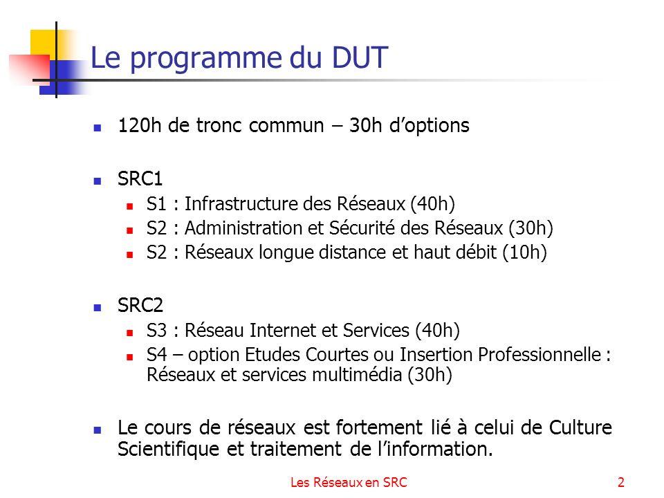 Les Réseaux en SRC2 Le programme du DUT 120h de tronc commun – 30h doptions SRC1 S1 : Infrastructure des Réseaux (40h) S2 : Administration et Sécurité