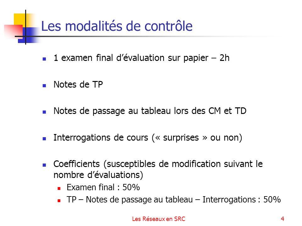 Les Réseaux en SRC4 Les modalités de contrôle 1 examen final dévaluation sur papier – 2h Notes de TP Notes de passage au tableau lors des CM et TD Int