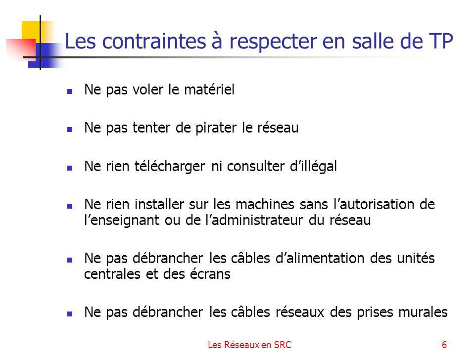 Les Réseaux en SRC6 Les contraintes à respecter en salle de TP Ne pas voler le matériel Ne pas tenter de pirater le réseau Ne rien télécharger ni cons