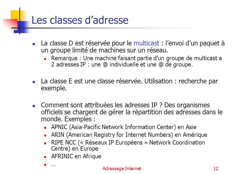 Adressage Internet12 Les classes dadresse La classe D est réservée pour le multicast : lenvoi dun paquet à un groupe limité de machines sur un réseau.