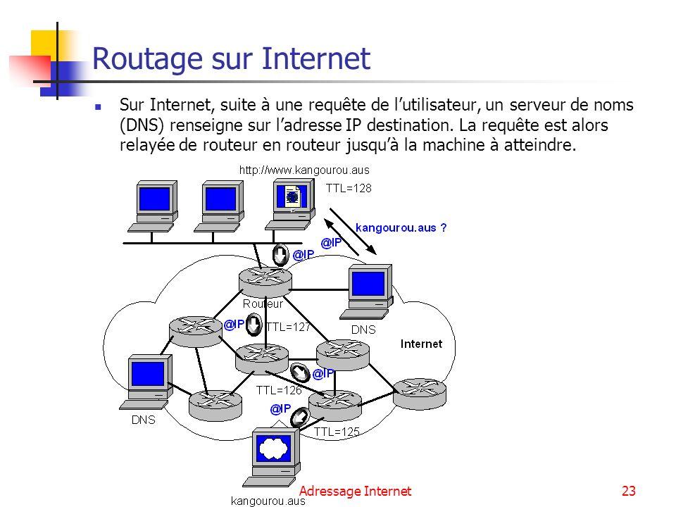 Adressage Internet23 Routage sur Internet Sur Internet, suite à une requête de lutilisateur, un serveur de noms (DNS) renseigne sur ladresse IP destin