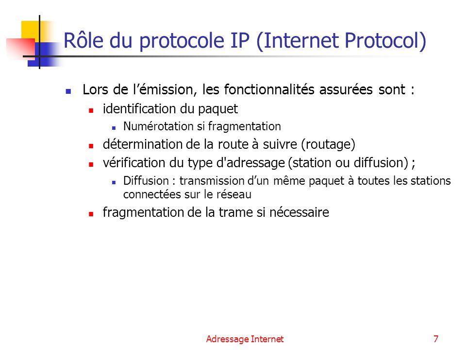 Adressage Internet7 Rôle du protocole IP (Internet Protocol) Lors de lémission, les fonctionnalités assurées sont : identification du paquet Numérotat