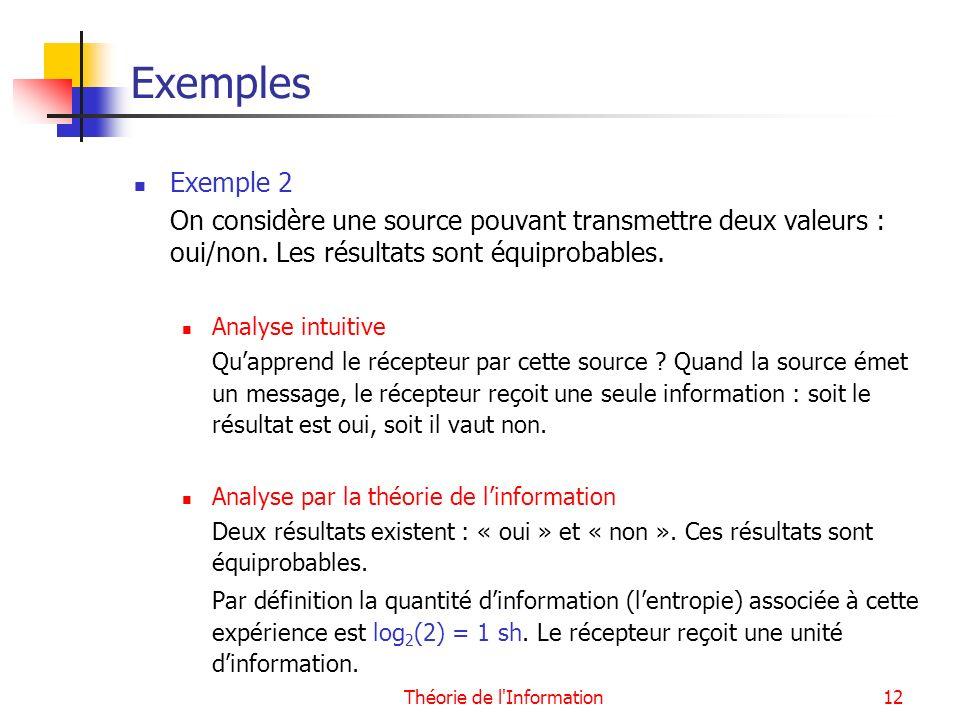 Théorie de l'Information12 Exemples Exemple 2 On considère une source pouvant transmettre deux valeurs : oui/non. Les résultats sont équiprobables. An