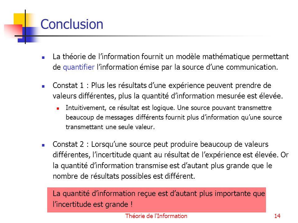 Théorie de l'Information14 Conclusion La théorie de linformation fournit un modèle mathématique permettant de quantifier linformation émise par la sou