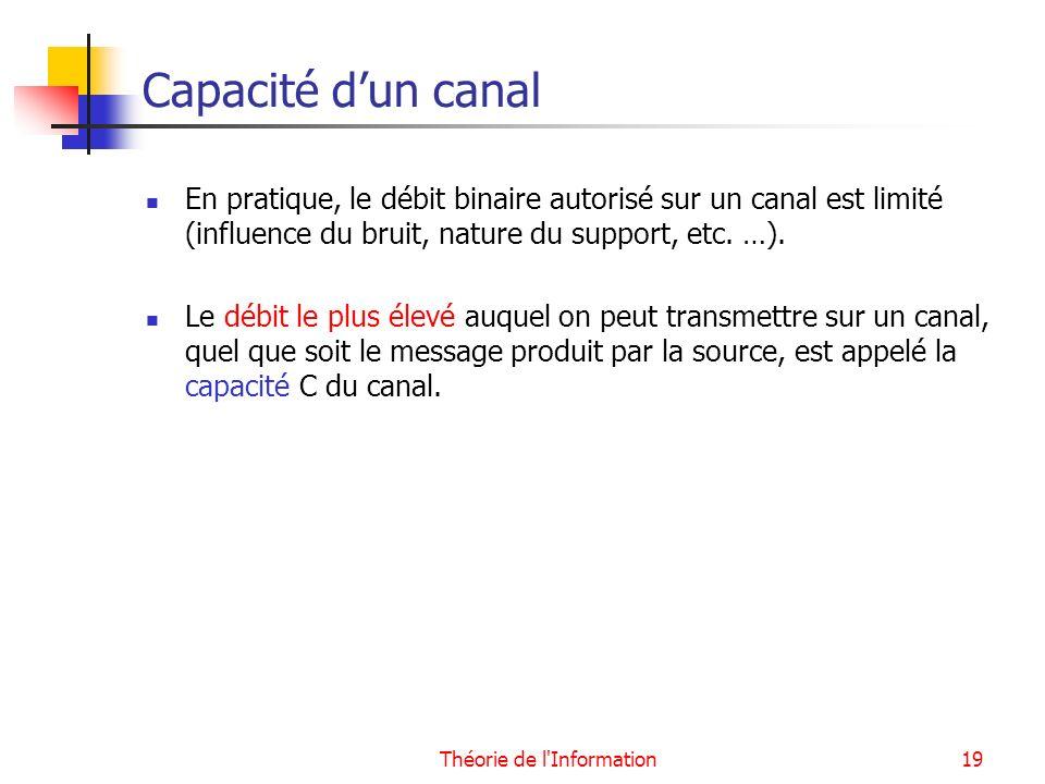 Théorie de l'Information19 Capacité dun canal En pratique, le débit binaire autorisé sur un canal est limité (influence du bruit, nature du support, e