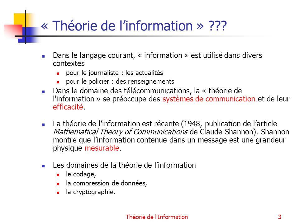 Théorie de l Information14 Conclusion La théorie de linformation fournit un modèle mathématique permettant de quantifier linformation émise par la source dune communication.