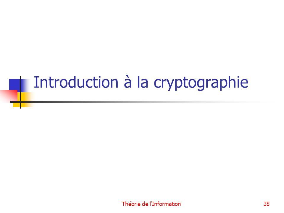 Théorie de l'Information38 Introduction à la cryptographie