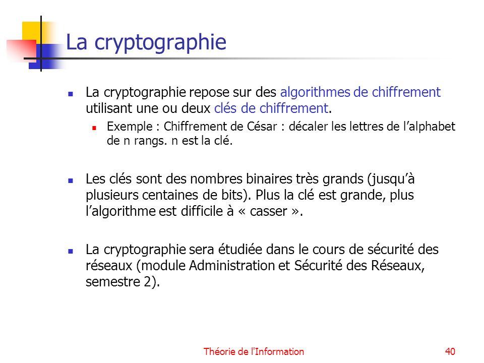 Théorie de l'Information40 La cryptographie La cryptographie repose sur des algorithmes de chiffrement utilisant une ou deux clés de chiffrement. Exem