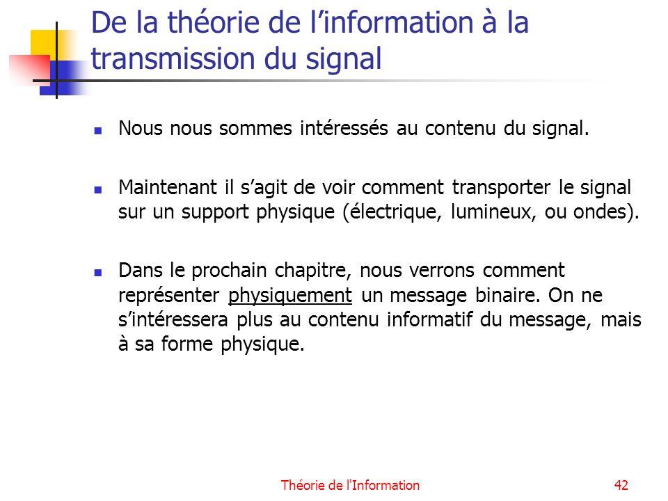 Théorie de l'Information42 De la théorie de linformation à la transmission du signal Nous nous sommes intéressés au contenu du signal. Maintenant il s