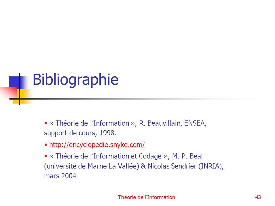 Théorie de l'Information43 Bibliographie « Théorie de lInformation », R. Beauvillain, ENSEA, support de cours, 1998. http://encyclopedie.snyke.com/ «