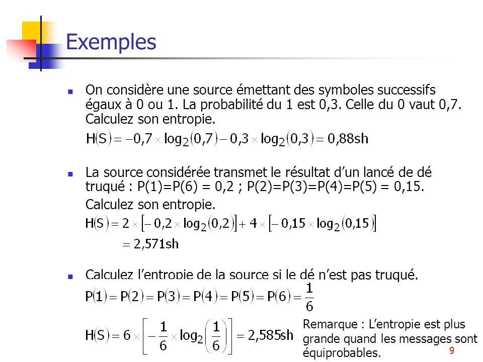 Théorie de l'Information9 Exemples On considère une source émettant des symboles successifs égaux à 0 ou 1. La probabilité du 1 est 0,3. Celle du 0 va