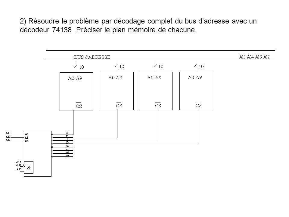 2) Résoudre le problème par décodage complet du bus dadresse avec un décodeur 74138.Préciser le plan mémoire de chacune.