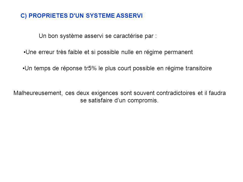 C) PROPRIETES D'UN SYSTEME ASSERVI Un bon système asservi se caractérise par : Une erreur très faible et si possible nulle en régime permanent Un temp
