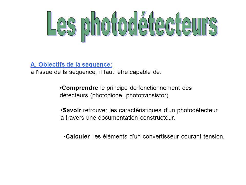 A. Objectifs de la séquence: à l'issue de la séquence, il faut être capable de: Comprendre le principe de fonctionnement des détecteurs (photodiode, p