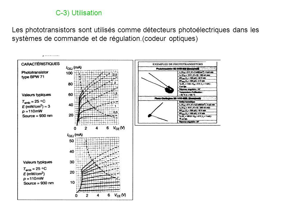 C-3) Utilisation Les phototransistors sont utilisés comme détecteurs photoélectriques dans les systèmes de commande et de régulation.(codeur optiques)