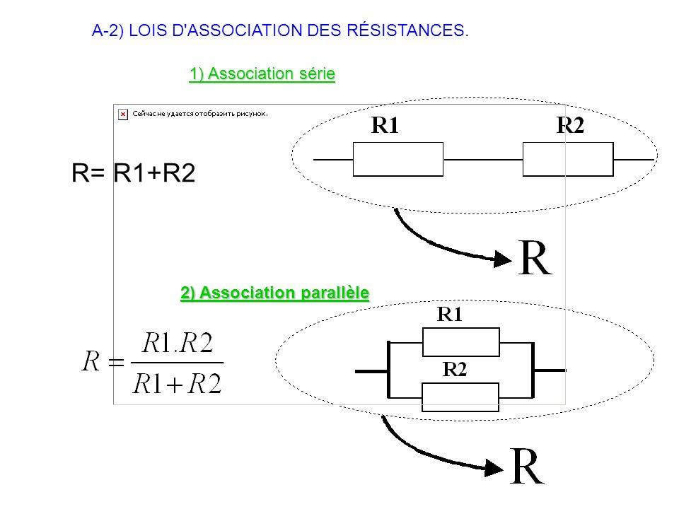A-2) LOIS D'ASSOCIATION DES RÉSISTANCES. 1) Association série R= R1+R2 2) Association parallèle