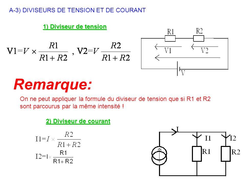 A-3) DIVISEURS DE TENSION ET DE COURANT 1) Diviseur de tension 2) Diviseur de courant Remarque: On ne peut appliquer la formule du diviseur de tension