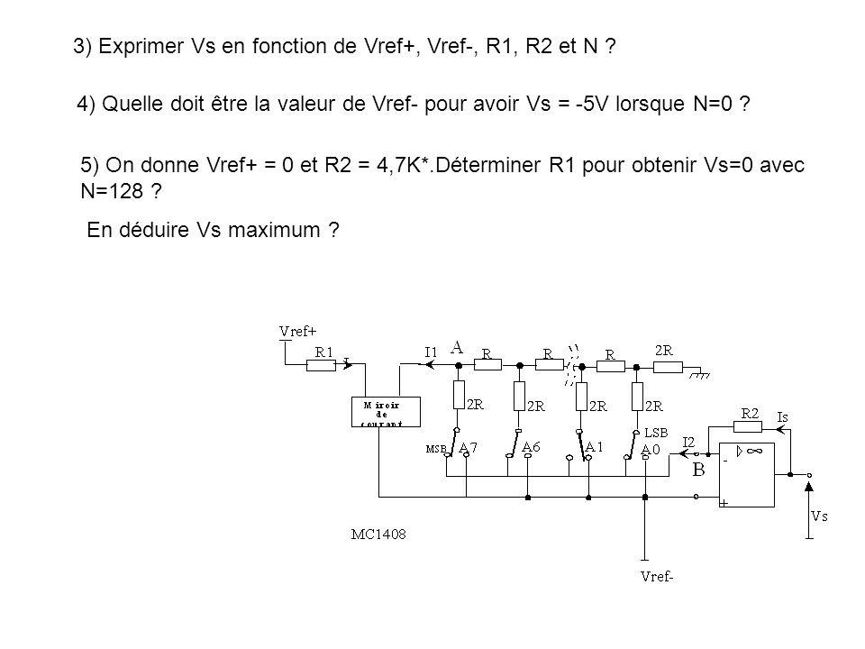 3) Exprimer Vs en fonction de Vref+, Vref-, R1, R2 et N ? 4) Quelle doit être la valeur de Vref- pour avoir Vs = -5V lorsque N=0 ? 5) On donne Vref+ =