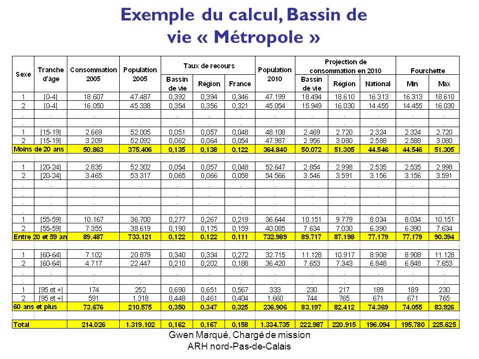 Gwen Marqué, Chargé de mission ARH nord-Pas-de-Calais Exemple du calcul, Bassin de vie « Métropole »